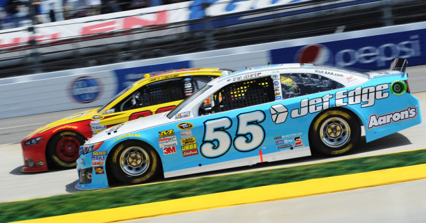 Michael Waltrip Racing has twice run Jet Edge cars as a thank you to the waterjet manufacturer.  MWR uses Jet Edge waterjets to cut more than 1,000 parts for each of their Sprint Cup cars.