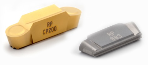 The CP200 range includes three chipbreaker options: FT for fine turning and deep grooving; MP for medium turning, profiling and grooving with good accessibility; and RP for fine and medium turning, profiling and grooving. Furthermore, the grade is offered in single and double-ended inserts and in cutting edge widths from 3 mm to 10 mm (0.125 in to 0.25 in).