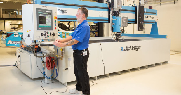 Jet Edge's EDGE X-5 5-axis waterjet with Aquavision Di controller cuts highly precise 3D parts from virtually any material.