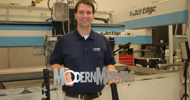 "In 2012, Jet Edge was featured on History's Modern Marvels ""Under Pressure"" episode. Jet Edge R&D Engineer Michael Wheeler explained how Jet Edge transforms ordinary tap water into a powerful cutting stream that can cut through virtually anything."