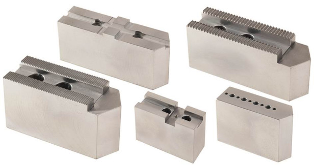 Soft chuck jaws are available with 1.5 mm x 60 deg, 3.0 mm x 60 deg and 1/16 in x 90 deg serrations, American Standard Tongue & Groove, Metric Tongue & Groove, Acme & Square Key Serrated. Jaws are also available for industry standard precision air chucks.