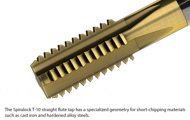 The Spiralock T-10 straight flute tap has a specialized geometry for short-chipping materials such as cast iron and hardened alloy steels.