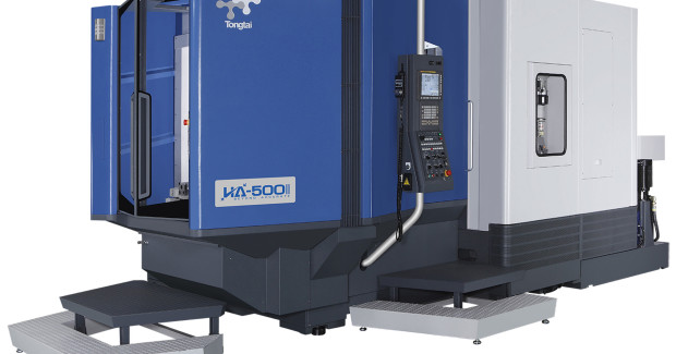 For heavy duty machining, the Tongtai HA-500II uses a standard 1 deg B axis indexing device for positioning. A 0.001 degree B axis is available and its high intensity copper alloy has the advantages of low friction and high rigidity. In addition, with an encircling brake mechanism, the machining accuracy in B axis is increased.
