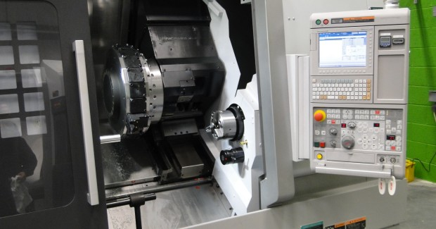 This NLX2000SY twin spindle lathe with Y-axis at BSL Industries can work easily within 10 microns to eliminate grinding operations.