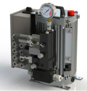 The modular unit has a compact, light-weight design which is ready for installation, complete with motor, pump, oil reservoir, valve configuration as needed, pressure gauge, pressure switches, and electrical system.