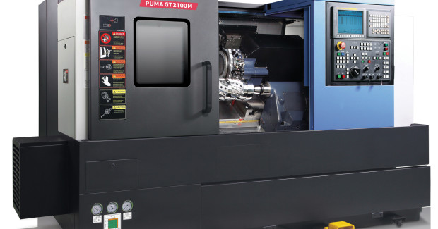 The Doosan Puma GT2100MB CNC turning center has a swing over bed of 23.6 in. swing over saddle of 15.4 in, maximum  turning diameter of 15.4 in, maximum turning length of 22.1 in, a chuck size of 10 in and bar working diameter of 3.2 in.