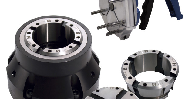The Hardinge FlexC collet system is an ideal substitute for 3-jaw chucks because it weighs less, has a lower profile, changes over much faster, and is interchangeable with other brands on the market.