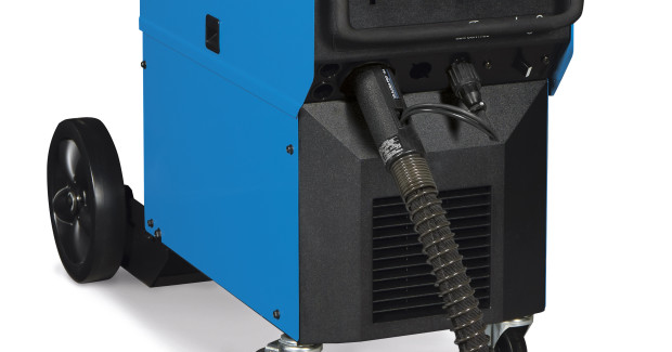 "The Millermatic 350P Aluminum synergic welding system from Miller Electric gives the operator the first-of-its-kind flexibility with synergic ""one knob"" control in both Pulsed MIG and MIG operation. The synergic connection means the Millermatic 350P Aluminum automatically adjusts voltage and amperage when the operator adjusts wire speed on the gun. This saves time and improves quality because the welder can react in real time to changing joint profiles and positions without having to stop welding and go back to the machine."