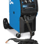 """The Millermatic 350P Aluminum synergic welding system from Miller Electric gives the operator the first-of-its-kind flexibility with synergic """"one knob"""" control in both Pulsed MIG and MIG operation. The synergic connection means the Millermatic 350P Aluminum automatically adjusts voltage and amperage when the operator adjusts wire speed on the gun. This saves time and improves quality because the welder can react in real time to changing joint profiles and positions without having to stop welding and go back to the machine."""