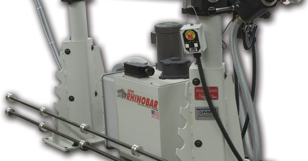 The Lexair Mini Rhinobar® bar feeder is designed for use with Swiss-style CNC screw machines and small, fixed- or sliding-head lathes, hydrodynamic bar feeder centers and feeds up to 12 ft (3.6 m) long bar stock as small as 0.04 in (1 mm) diameter.