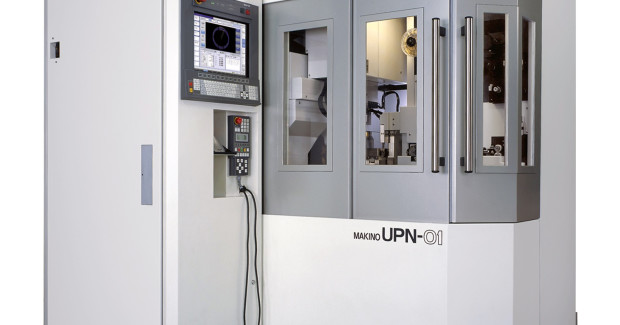 The Makino UPN-01 horizontal wire EDM is configured with an ultra-precision rotary C-axis which is used for holding and indexing of the work piece, and provides rotational positioning accuracies of ±2 arc seconds. Due to the machine's horizontal configuration, the convention work table configuration is replaced with a frame or clamp style tooling system, which can also be automatically exchanged using the optional 16 station Automatic Work Changer (AWC) system.