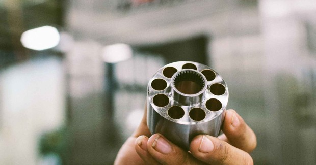 The cylinder block or rotor starts as a turned blank up to eight inches diameter. Then, nine circumferen¬tial piston bores from 0.1875 in to 1.5 in (4.8 mm to 38.1 mm) diameter are roughed in on a machining center, and the part may be heat treated.