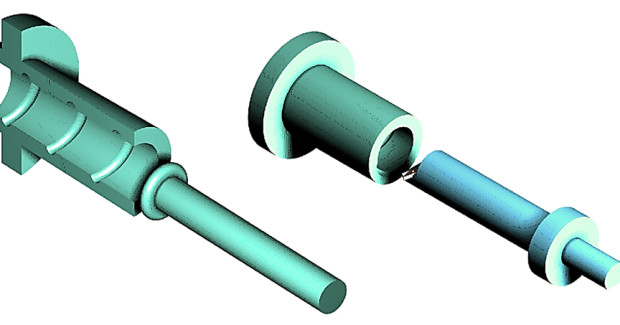Figure 3. Thread grinding (left): the rotational axis of the grinding disc is inclined to the rotational axis of the thread at the pitch angle. Hard thread turning (right): the boring bar axis and the thread axis run parallel.