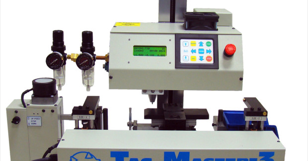 The Tag Master 3 magazine tag transfer feeder from Kwik Mark accommodates tags with coarse cut / bent edges, thickness variations.