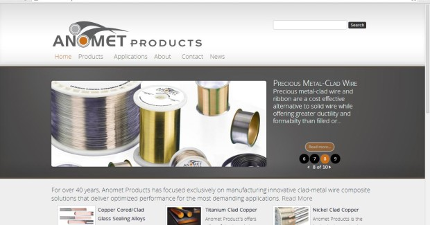 Providing intuitive navigation, the Anomet Products Innovative Clad-Metal Wire Solutions Website includes descriptions and specifications for listed alloys that can be clad to core materials such as copper, niobium, molybdenum, stainless steel, tantalum, and titanium.