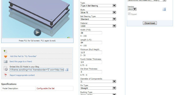 The configurator entry screen of the 3D CADlink system from Superior Die Set is composed of questions that are used to determine the rendering. Sequential answers are imperative for the dynamic processing of proper die set functionality. The system does not allow incorrect die set design criteria that could limit mechanical accuracy.