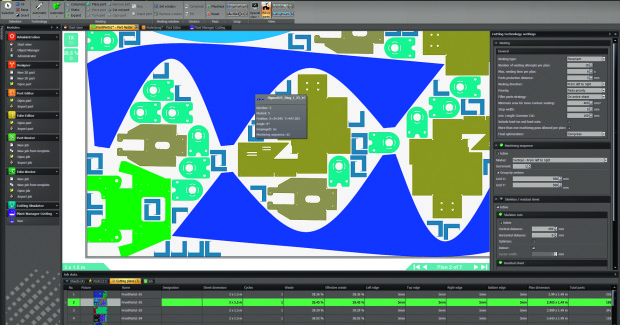 On the CAM side, BySoft 7 from Bystronic introduces a variety of innovations that improve and simplify the manufacturing process. Operators have the ability to choose either spread or compressed nesting. Spread nesting increases the distance between nested parts for improved process reliability, while compressed nesting minimizes the safety distance to increase the number of parts per sheet and minimize wasted material. (second view)