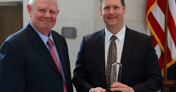 CTG CEO Barney Bosse (left) with TechSolve president Gary Conley  at the Edison Center awards ceremony in Columbus, Ohio.