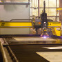 The ESAB Avenger 3 heavy duty gantry shape cutting machine features a 14 ft wide x 85 ft long water table that helps Chart meet its need to cut and bevel with high accuracy and efficiency. Using the water table, parts are quickly cooled and molten spray is prevented from adhering to stainless steel parts.