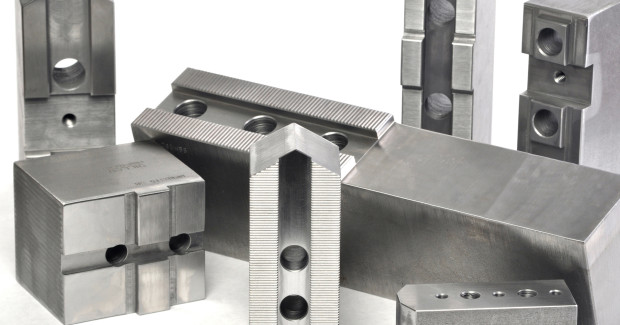 Dillon soft blank top jaws can be removed and later reused for the same operation, or machined to grip an altogether new part, until the blanks are consumed, making them ideal for machine shops which routinely handle parts with different shapes and geometries.