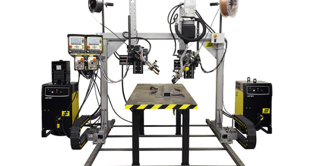 The MechTrac gantry from ESAB provides the flexibility to weld I-T or L beam profiles, straight columns or tapered columns in a fast, economical method. The MechTrac gantry is ideal for single wire, twin and SAW applications.
