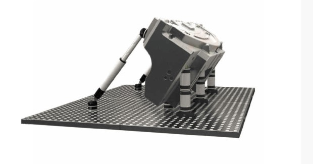 The FCS Modular Clamping System from SST uses virtual design during the CAD/CAM stage of part production to project a grid on the workpiece that calculates the best way to attach the part for machining and chip evacuation. After checking for possible interferences with other holes, it automatically arranges the fixing seats based on the dimensions of the workpiece and combination of pallets and clamping available.