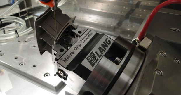 Here is a photo of the Lang Grip-Fix system being used to clamp turbine blades for drilling. Anotronic also uses Grip-Fix for its CNC CMM inspection machine's and in its EDM hole drilling machines, where it is developing a 5-axis system for refurbishing the leading and trailing edge cooling holes in turbine blades.