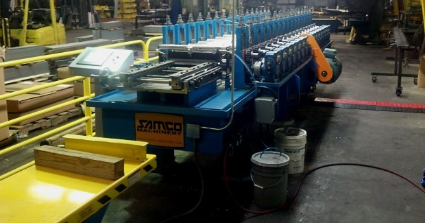 The Samco roll forming machine is custom designed to fit the parts being produced by Premier and maintain the tolerances required for the door framing headers and jambs in varying widths and heights.