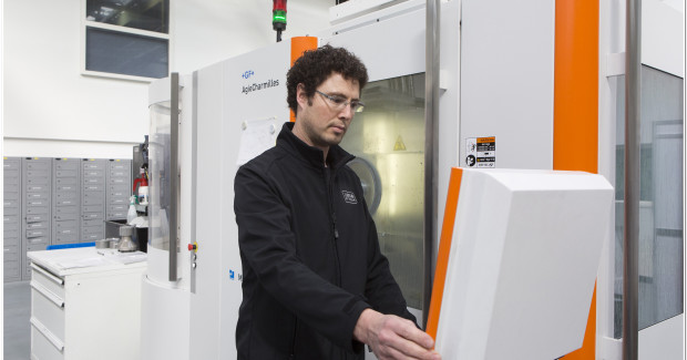 Each of the six identical 5-axis Mikron HPM 450U machine tools has a compact footprint, integrated automation features, performance value and reliability to effectively cut through a wide range of materials, from aluminum, steel, andstainless steel to extremely difficult-to-machine materials.