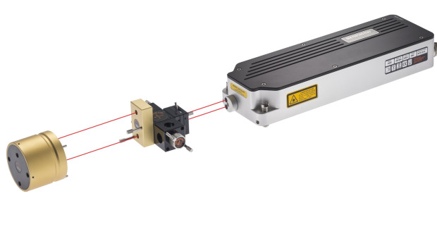 The laser source (right), interferometer and target reflector make up the HS20 laser encoder system.