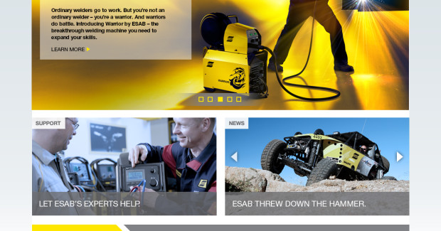 ESAB's redesigned site features comprehensive product information on their complete range of welding and cutting products and solutions.