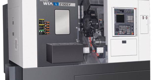 The L2100SY Y-axis Multitasking Lathe from Hyundai WIA uses critical structural components that are designed using finite element analysis (FEA) to ensure powerful cutting and agility and are composed of meehanite cast iron to minimize deformation when performing heavy-duty cuts. (first view)