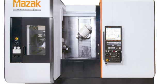 The INTEGREX i-100 BARTAC-S from Mazak features two turning spindles and a milling spindle that allow for full 5-axis machining and Done-In-One operations that effectively handle all processes from raw material input through final machining to provide dramatic reductions in lead times and improve workpiece accuracy through the elimination of multiple setups.