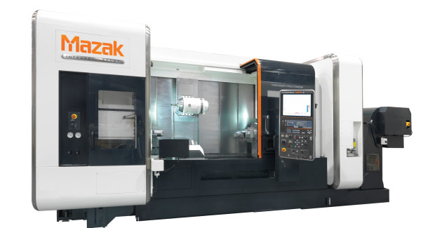 The INTEGREX i-200ST from Mazak features twin turning spindles, a lower turret and milling spindle. Both turning spindles on the machine provide equal high performance with spindle speeds of 5,000 rpm and C-axis turning control. And both have a bore capacity measuring 76 mm in diameter.