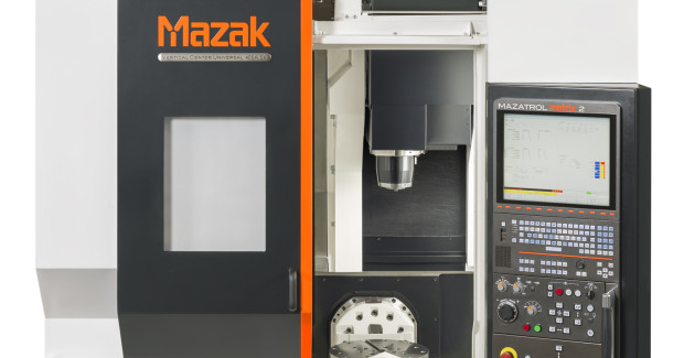 The small-footprint Vertical Center Universal 400 5X from Mazak features a powerful, rigid CAT-40 taper 10,000 rpm spindle that offers high metal removal capabilities in common materials, including steel, aluminum and cast iron. Other maximum spindle speeds are available, such as 12,000 rpm and 20,000 rpm in 40-taper as well as 42,000 rpm in E40 (HSK), so that users can effectively match spindle performance with their part machining requirements.