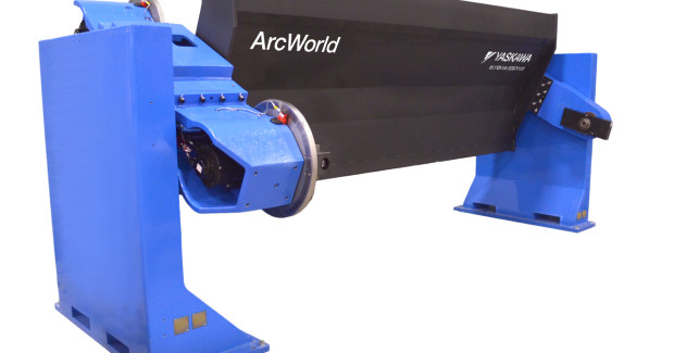 The larger capacity RM2-1555 ferris wheel part positioners from Motoman can support an overhead structure for mounting robots in the ArcWorld V-6000 series work cells with reduced footprint.