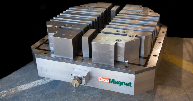 The exciting part about a DocMagnet fixture is that the magnetic chuck can be used for multiple parts by using an engineered top plate designed for the chuck (magnetic base of the fixture). These magnetic turn-key fixtures in a production environment can improve load/unload times, cycle times, part quality, and tool life and by doing so, drastically reduces the cost of production with a possible ROI of less than six months.