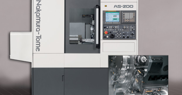 The Y-Axis enables turning, drilling and milling off center on the Nakamura AS-200 multitasking center from Methods Machine Tools. Providing very high rigidity, the AS-200 is a heavyweight machine at 7,055 lb (3,200 kg). At the same time, it is a compact machine at (5 ft 6 in) 1,650 mm x (5 ft 6 in) 1,600 mm – the smallest in its class for floor space.