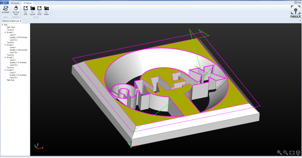 With its user-friendly and powerful 2D conversion system, Intelli-CAM from OMAX generates machine-ready cutting geometry through a few simple computer mouse clicks. With the 3D file imported, users extract the desired 2D profile directly from a slicing plane, shadow or face. Intuitive navigation tools make it easy for users to position and orient the slice – including rotations around all axes, orienting to a face, or projecting as a shadow. (second view)