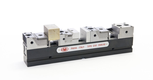 "The OML CIVI Rail vise with moveable jaws from Lexair provides ""anywhere"" positioning on tombstones and fixture plates, with 60 deg serrations that increase clamping area for improved accuracy and repeatability on precision parts."