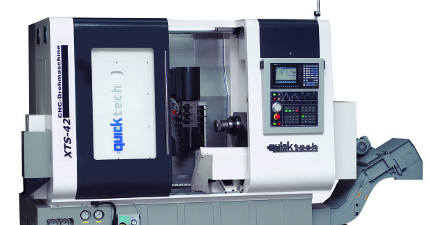 The main spindle on the Quicktech XTS-42 from Absolute Machine Tools has a 15 hp high torque spindle motor, and the sub-spindle is equipped with a 5 hp high torque spindle motor for backworking. Both spindles feature a full continuous C-axis with braking system and standard 42 mm DIN-173-42B collet chucks.