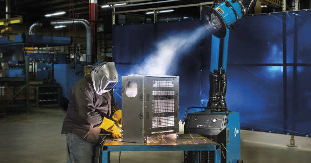Advancements in source capture technology help to minimize operator interaction with the fume extraction arm and improve safety on long weldments by increasing the fume extraction area to a greater width and distance — up to 3 ft wide and 5 ft away.