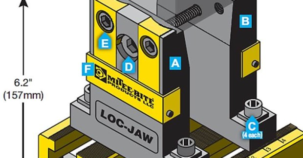 The Loc-Jaw™ system from Mitee-Bite is a simple solution for 4- and 5-axis machining without having to perform a pre-op prior to running your parts. (first view)