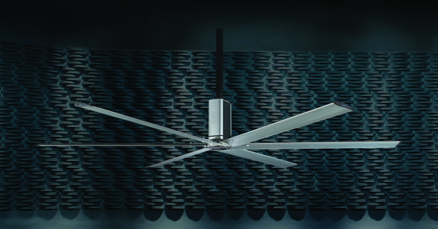 A cohesive housing compartment powers the AirElite fan's six airfoil blades, which utilize a NASA-engineered wing design while also simplifying the installation process by removing the need for a separate motor control panel.