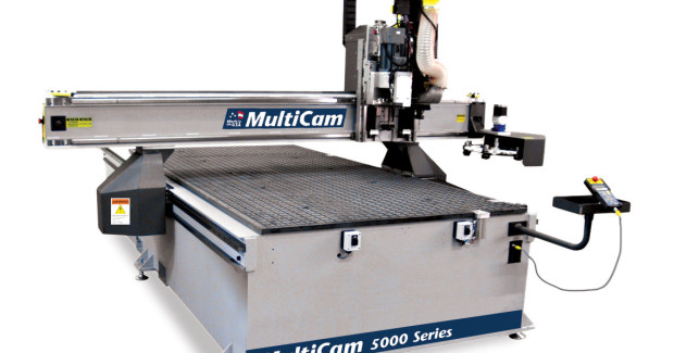 The 5000 Series CNC Router uses a precision ground helical rack, digital AC servo drives (2,200 ipm rapid traverse), a heavy box frame design and 25 mm linear bearings that provide virtually vibration-free cutting.