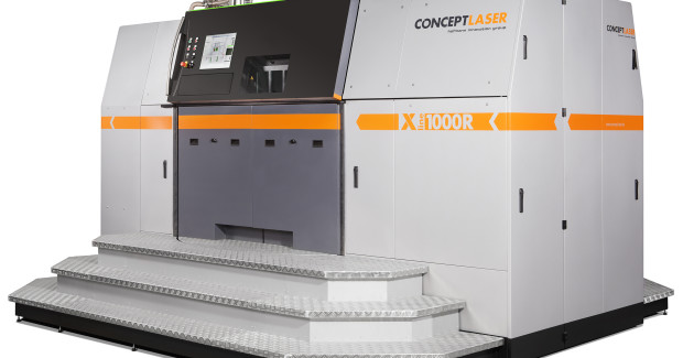 The X line 1000R from Concept Laser is a large system for processing reactive materials within a closed system, with automatic powder transport and consistent separation of the process chamber and the handling area. (Photo courtesy of Concept Laser GmbH, Lichtenfels)