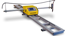 Crossbow features a motorized lifter to support either oxyfuel or plasma torches. The Arc Voltage Height Control ensures the plasma torch will automatically maintain a consistent cutting height. Ohmic touch initial height sensing finds the plate surface, sets the piercing height during automated plasma cutting, detects torch crashes by sensing the plate during cutting and shuts down the plasma system accordingly.