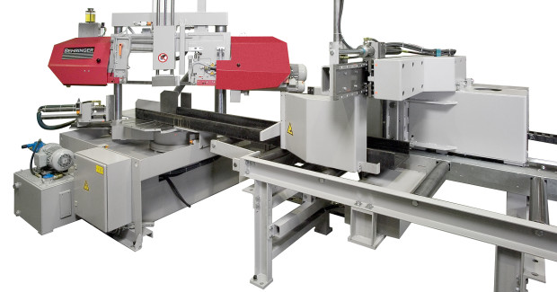 The HBP-310/523G/A miter saw frame is inclined 3 deg to optimize the number of blade teeth which contact the material being cut and save time by minimizing the cutting cycle time for all types of stock, including profiles and bundles. The dual column frame enhances torsion resistance during cutting and controls the application of downfeed power for precise, flat cuts and tight tolerances.