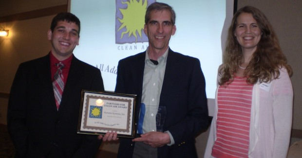 Chief executive officer Evan Miller receives Clean Air Award from a inter-governmental agency in northern Indiana. (l-r) agency representative Joe Mehl, Chief Executive Officer Evan Miller, and NIPSCO representative Jessica Honegger