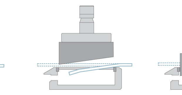 Unlike conventional punch press processing methods, the shear cut tool leaves no nibble marks on the edge of a part. Instead, it acts like a pair of scissors as it cuts through the material to provide a clean quality edge. Though a burr remains on the bottom of the part after the punching or shearing process, it can be compressed or coined back into the material by chamfering the edge. (second view)